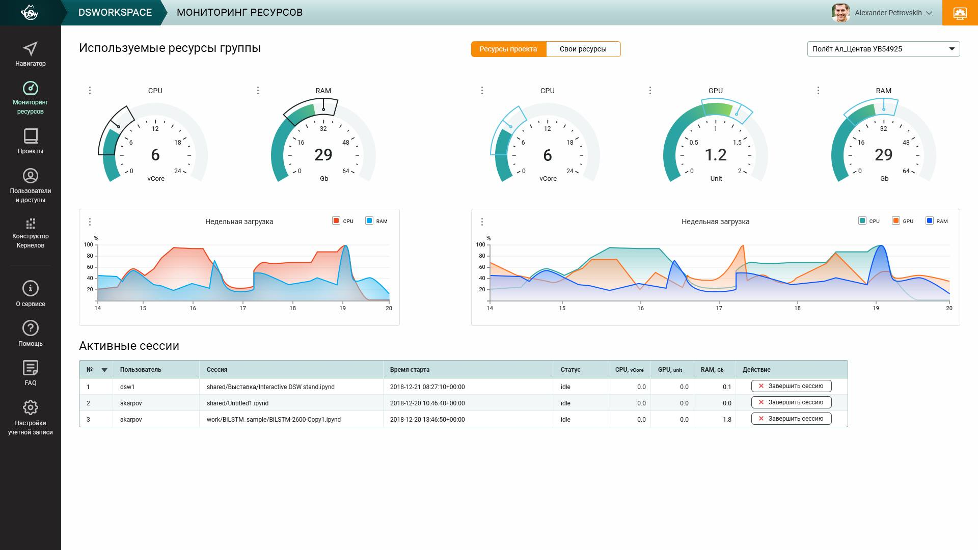 DSW Monitoring interface example